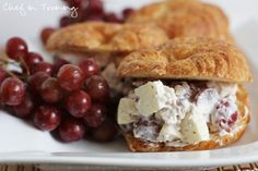 FRUITY CHICKEN SALAD SANDWICHES:  INGREDIENTS     Print This Recipe  1/2 cup mayonnaise  1/2 cup pecans finely chopped  1/2 cups grapes sliced in halves  1 cup chicken fully cooked and chopped  1 small gala apple chopped  crescents, rolls, or bread