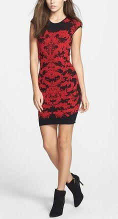 Red Lace Jacquard Sheath Dress