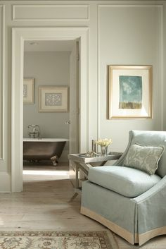 """Paint Color: Walls are """"Duron Bird's Nest #8073"""" and the trim is """"Patina #8075"""""""