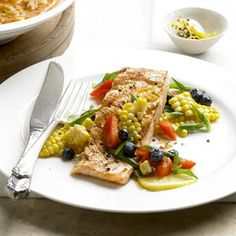 lemon grilled salmon with corn salad