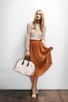 Mustard long pleated skirt