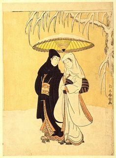 Crow and Heron, or Young Lovers Walking Together under an Umbrella in a Snowstorm, ca. 1769  Suzuki Harunobu    Source: Suzuki Harunobu: Crow and Heron, or Young Lovers Walking Together under an Umbrella in a Snowstorm (JP2453) | Heilbrunn Timeline of Art History | The Metropolitan Museum of Art