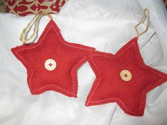 Set of Two Burlap 5 inch  Christmas Star by TallahatchieDesigns, $12.50