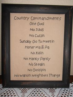 Country Ten Commandments Primitive Stitchery, Cabin Decor, Rustic, Christian Decor. $16.99, via Etsy.