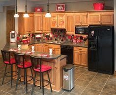 Ohio State themed basement kitchen