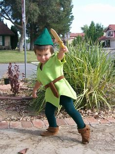 Coolest kid ever - Peter Pan Costume Faux Suede Shoes Or Elf Robin Hood Peasent Style Costume Shoes Custom Made For any Child Size. $39.99, via Etsy.