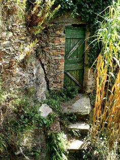 green door tucked away
