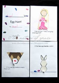 Pattern block designs in a simple book format - spring or Easter Egg Hunt. Only $1.50!!!  Also have pattern block design books for Christmas and Thanksgiving available.  Homeschooling or classroom!
