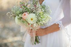#babys #breath #bouquet #pastels #pink #pastel #baby #ivory #peach #bow #organza #wedding #bride #bridal #eco #friendly