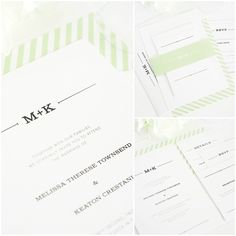 Rustic Wedding Invitations in light green with monogram