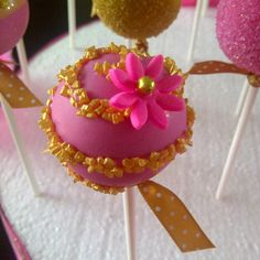 Pink and Gold Wedding Cake Pops
