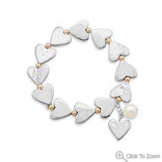 Two Tone Heart Stretch Fashion Bracelet