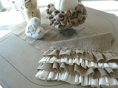 Cottage Chic  Burlap Table Runner with Ruffles by ShabbieChicHome. So pretty!