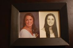 Mom's graduation picture framed with daughter's graduation picture. Such a cute idea.
