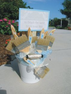 Beach Weddings Sand Brushes and Pail to brush the sand from your feet - customizable. $165.00, via Etsy.