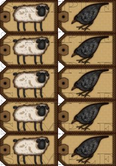 Free Primitive Patterns Printable | Sheep and Crow Instant Printable Gift Size Hang Tag
