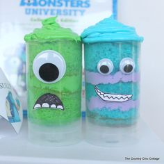 Monsters University Push Pop  Cupcakes How-To ~ These would also be great for any Monster themed party!