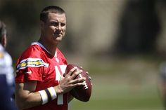 FILE - This May 29, 2012 file photo shows San Diego Chargers quarterback Philip Rivers warming up during NFL football training in San Diego. (AP Photo/Gregory Bull, File)