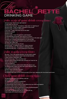 """The Bachelorette"" Drinking Game. dont drink, but this could be fun other ways! ha!"