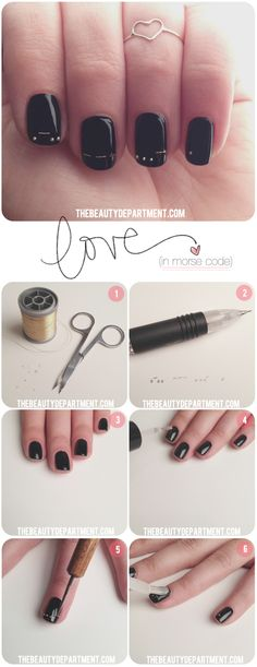 Morse Code Nails? Come on. This is adorable.