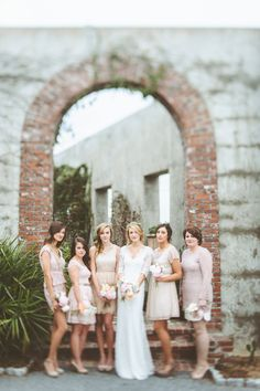 blush bridesmaid dresses, photo by Paper Antler http://ruffledblog.com/romantic-atlanta-wedding #wedding #bridesmaids