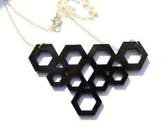Geometric Nine Hexagon Black Acrylic Perspex Necklace $23.50