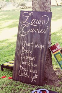 Lawn Games for reception fun; that time between the wedding vows ending and the evening time starting!! Bocce ball, Horse shoes, washers and bean bag toss. Love this.