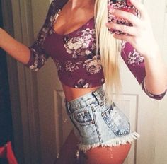 Love the crop top and the high waisted shorts!