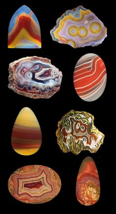 Agates  Agate is a microcrystalline variety of silica, chiefly Chalcedony, characterised by its fineness of grain and brightness of color. Although Agates may be found in various kinds of rock, they are classically associated with volcanic rocks and can be common in certain metamorphic rocks