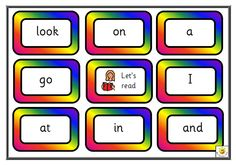 Fun Literacy Resource for KS1 and KS2: 6 games with 8 targeted words on each, made for 4 players. Sassoon infant font throughout. Targeted words as follows: Game 1: I, a, look, in, on, at, go, and. Game 2: he, we, can, like, the, to, you, is. Game 3: come, play, for, am, are, said, up, they. Game 4: cat, going, my, away, this me, big, day. Game 5: no, dad, dog, all, get, see, mum, went. Game 6: of, was, yes, saw, it, here, she, boy