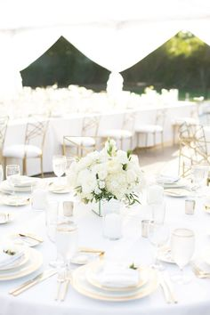 Tablescape - All White Wedding Ideas - All You Need is Love Events