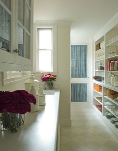 Pretty pantry with open shelving by Samantha Lyman Design