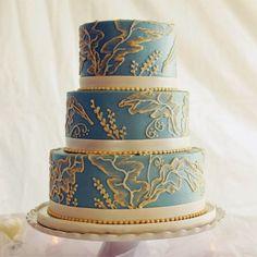 brush embroidery on robin's egg blue wedding cake