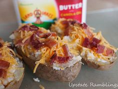 Twice Baked Potatoes with Cheddar Cheese and Bacon pieces #3SI #spon