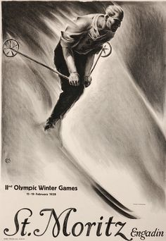 Poster for the 1928 Winter Olympics in St. Moritz, Switzerland. Illustration by Carl Moos.