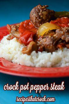 Crock Pot Pepper Steak- A great all day slow cooker meal! #CrockPot
