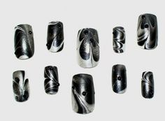 Water Marble Nail Art Shimmery Metallic Rhinestone Black And White Summer Abstract  OOAK Introductory Offer Sale. $13.00, via Etsy.