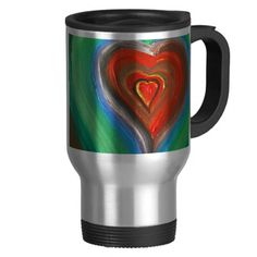 All zazzle products can be customized with TEXT!!!!!!  A Heart Rainbow of Love Coffee Travel Mug  $33.95