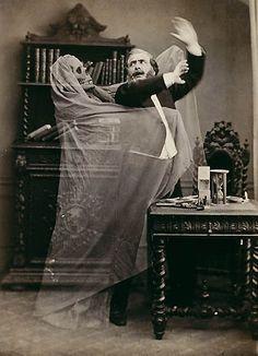 Eugène Thiébault (French, born 1825). Henri Robin and a Specter (1863). Albumen silver print. 22.9 x 17.4 cm (9 x 6.9 in.). Collection of Gérard Lévy, Paris.  bit.ly/1RXxdJ