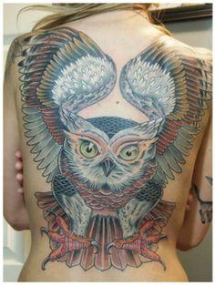 Ghost owl tattoo by Teresa Sharpe