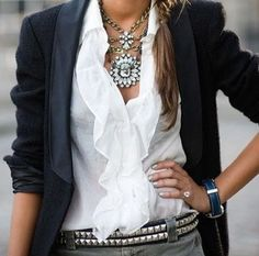 statement necklaces, ruffl, blazer, accessori, white shirts, blous, outfit, belt, chunky necklaces