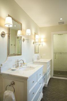 Chevron Flooring, Marble, Circa Lighting Sconces design by: Scott Lyon  Company