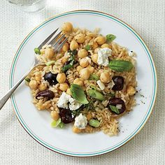 Warm Brown Rice and Chickpea Salad with Cherries and Goat Cheese   Cooking Light #myplate #veggies #fruit #dairy