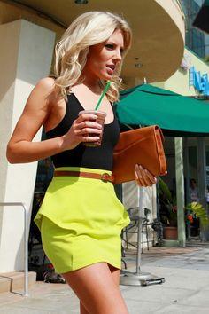 neon green peplum skirt, simple black tank, cognac leather accessories