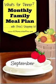 September meal plan with free shopping list