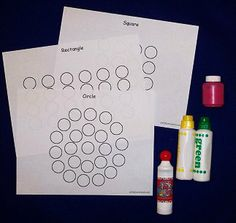 This is another great activity for hand-eye coordination. I made shape sheets that children can use dot-a-dot type markers or paint to fill in the dots. You can download the shape do-a-dots here ...
