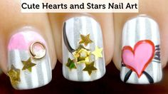 Cute Hearts and Stars Nail Art Tutorial - http://nailartgallery.nailsmag.com/madjennsy/photos