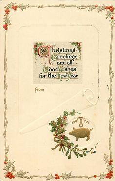 SALUDOS DE LA NAVIDAD Y los mejores deseos para el nuevo año gilt encanto del cerdo con la buena suerte