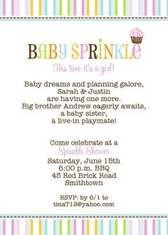 second baby showers on pinterest baby sprinkle invitations baby