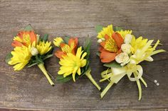 corsage and boutonnieres fashioned from yellow daisies, orange alstroemeria, and white mini roses for a country wedding